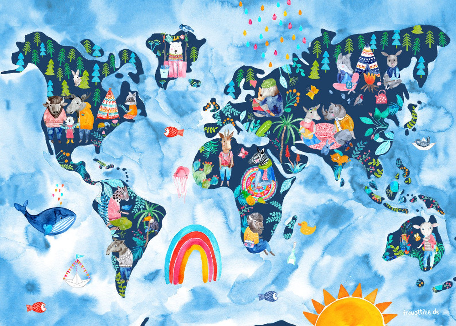 world map nursery print