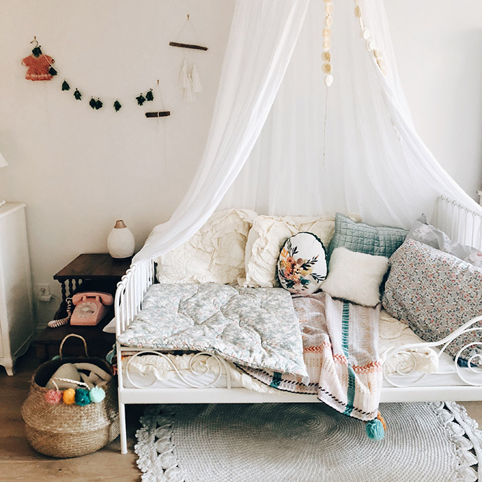Boho and vintage heaven of a kids room