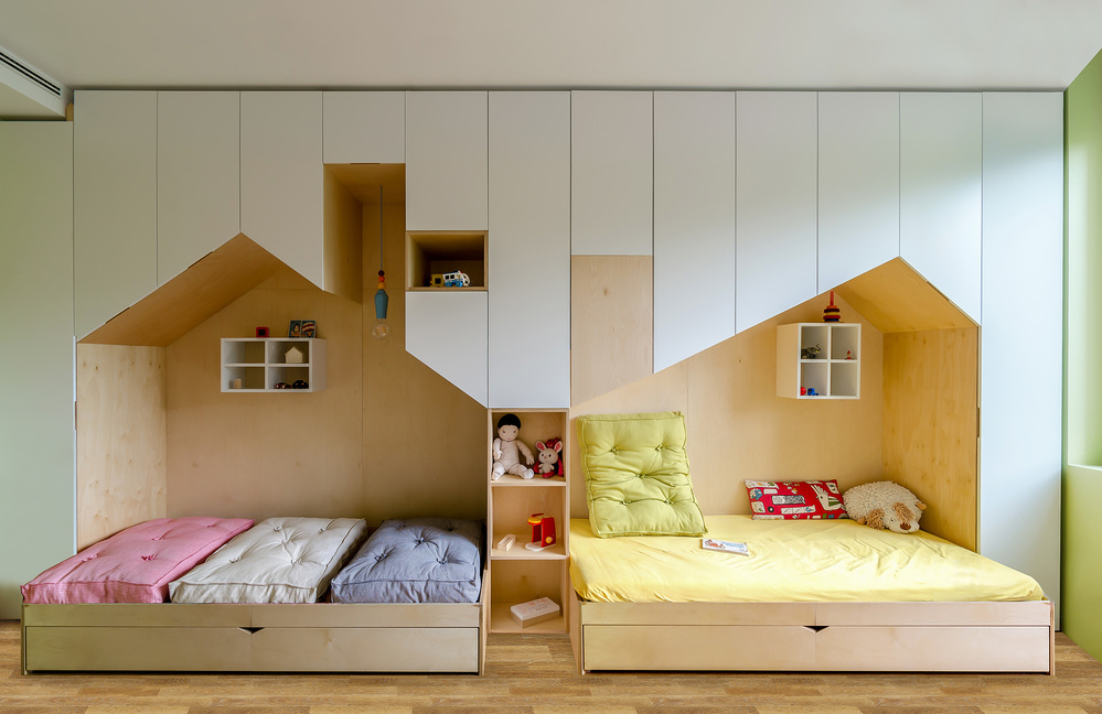 5 kids spaces with integrated beds and storage