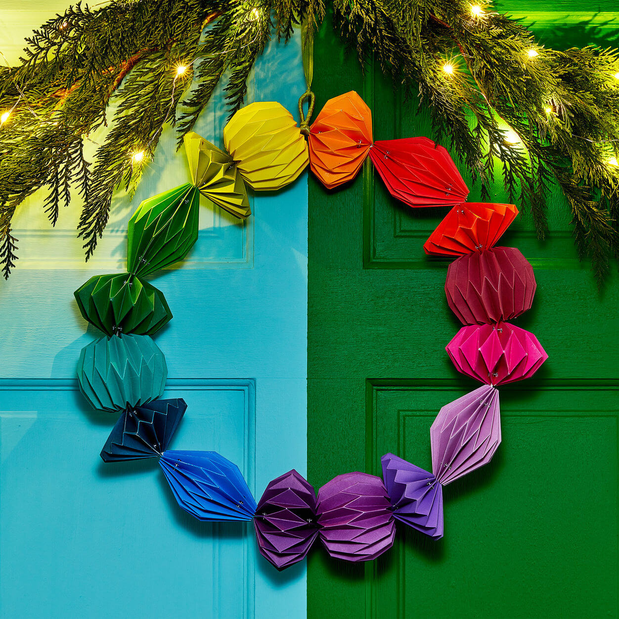 geometric paper xmas wreath