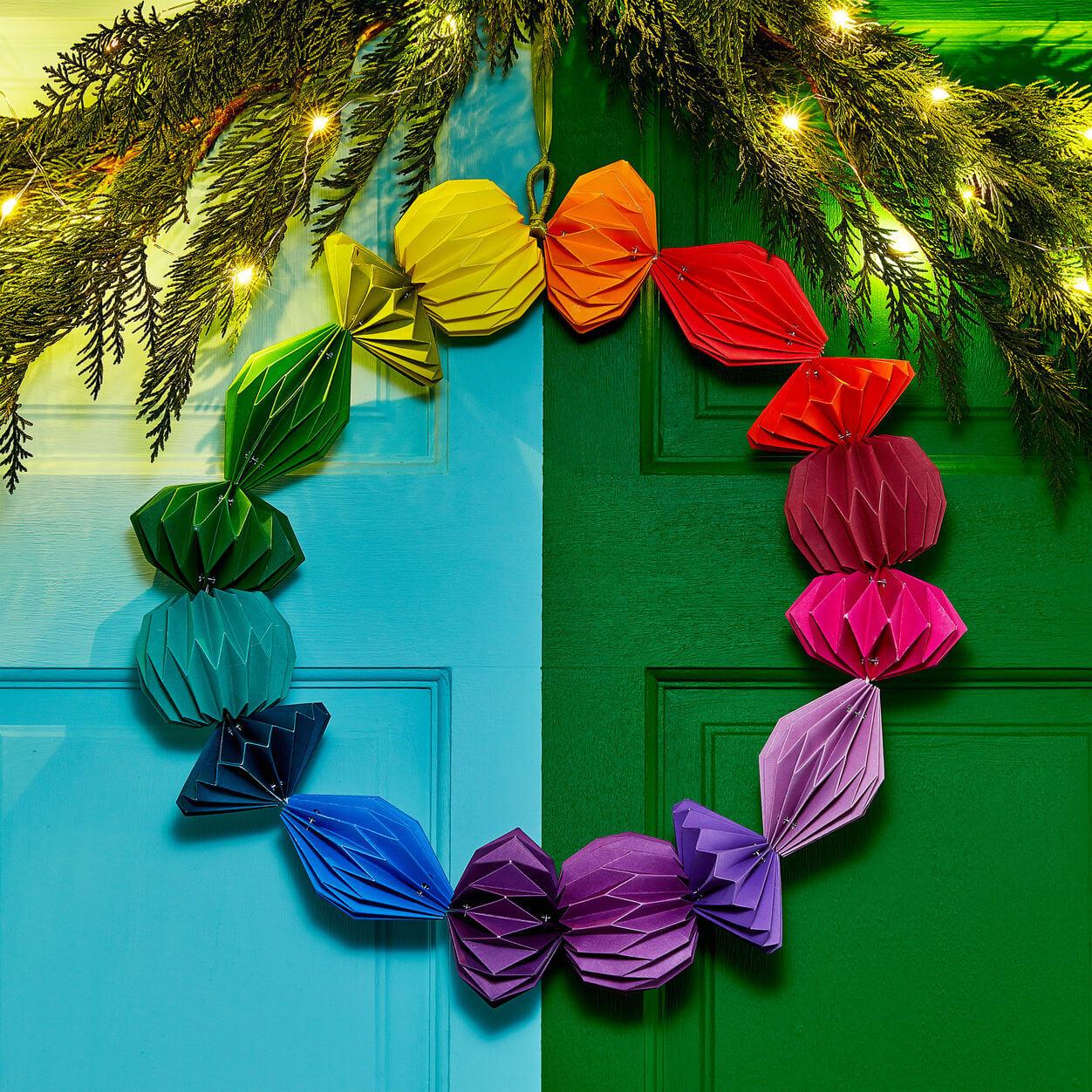 geometric paper xmas wreath