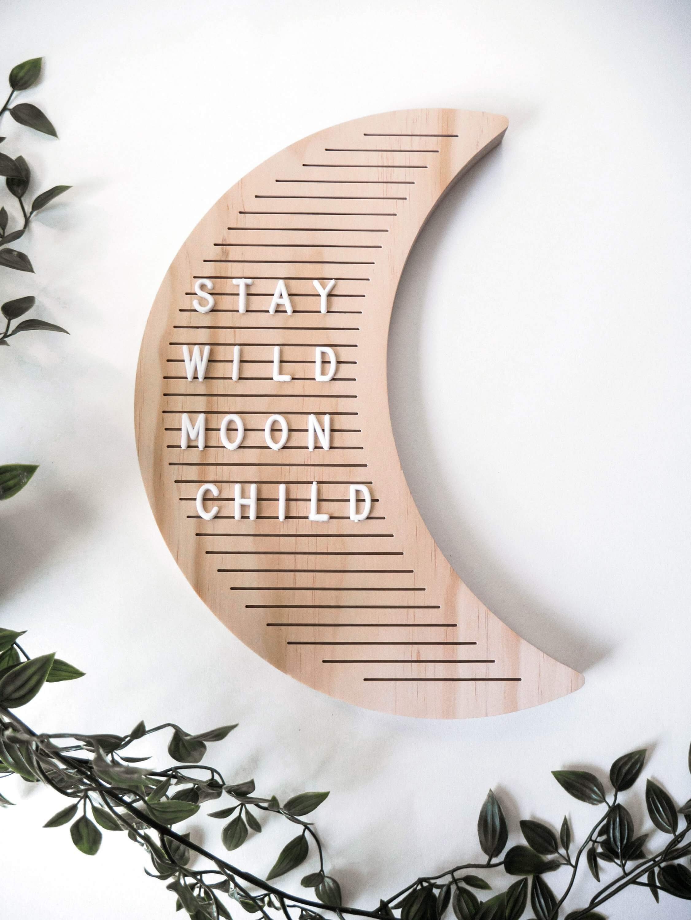 moon shaped wooden letter board