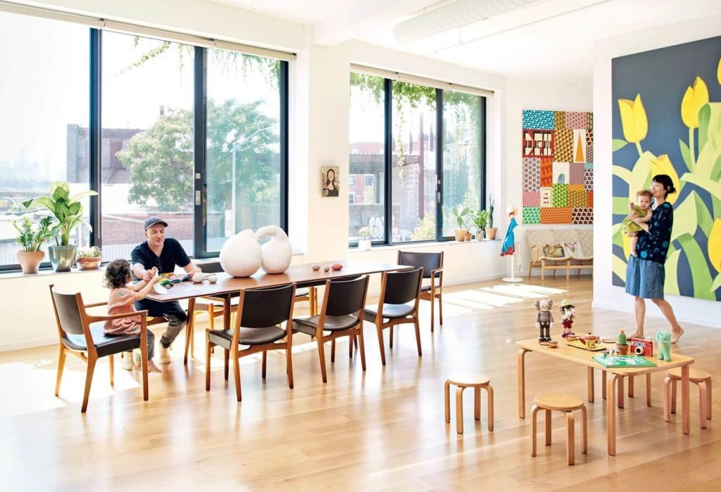 Stunning artwork in this family home in Williamsburg