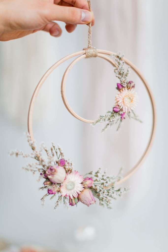 flower hoops wall decor