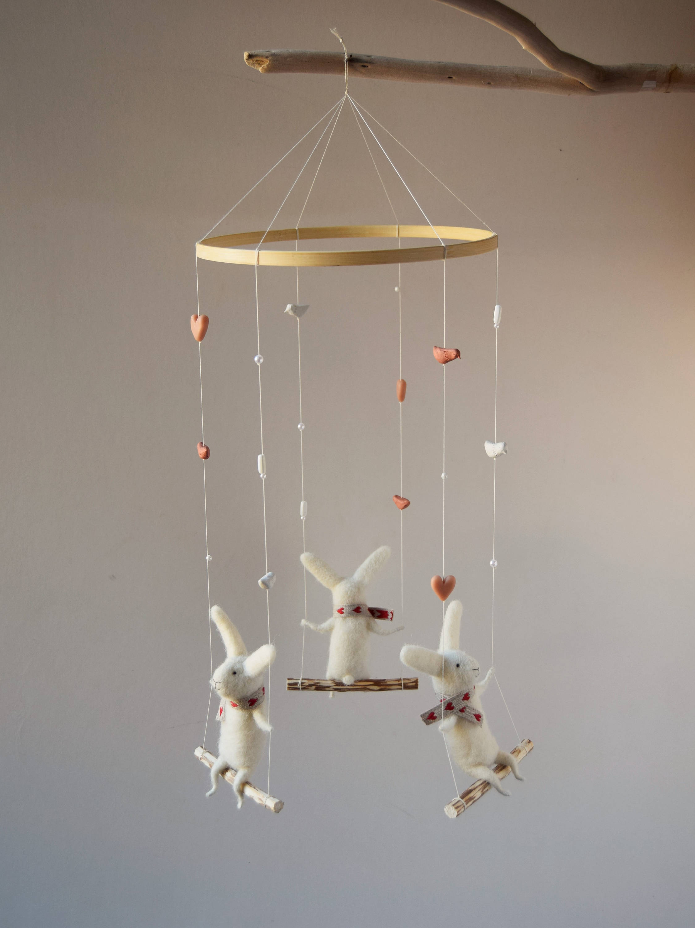 felted bunnies mobile