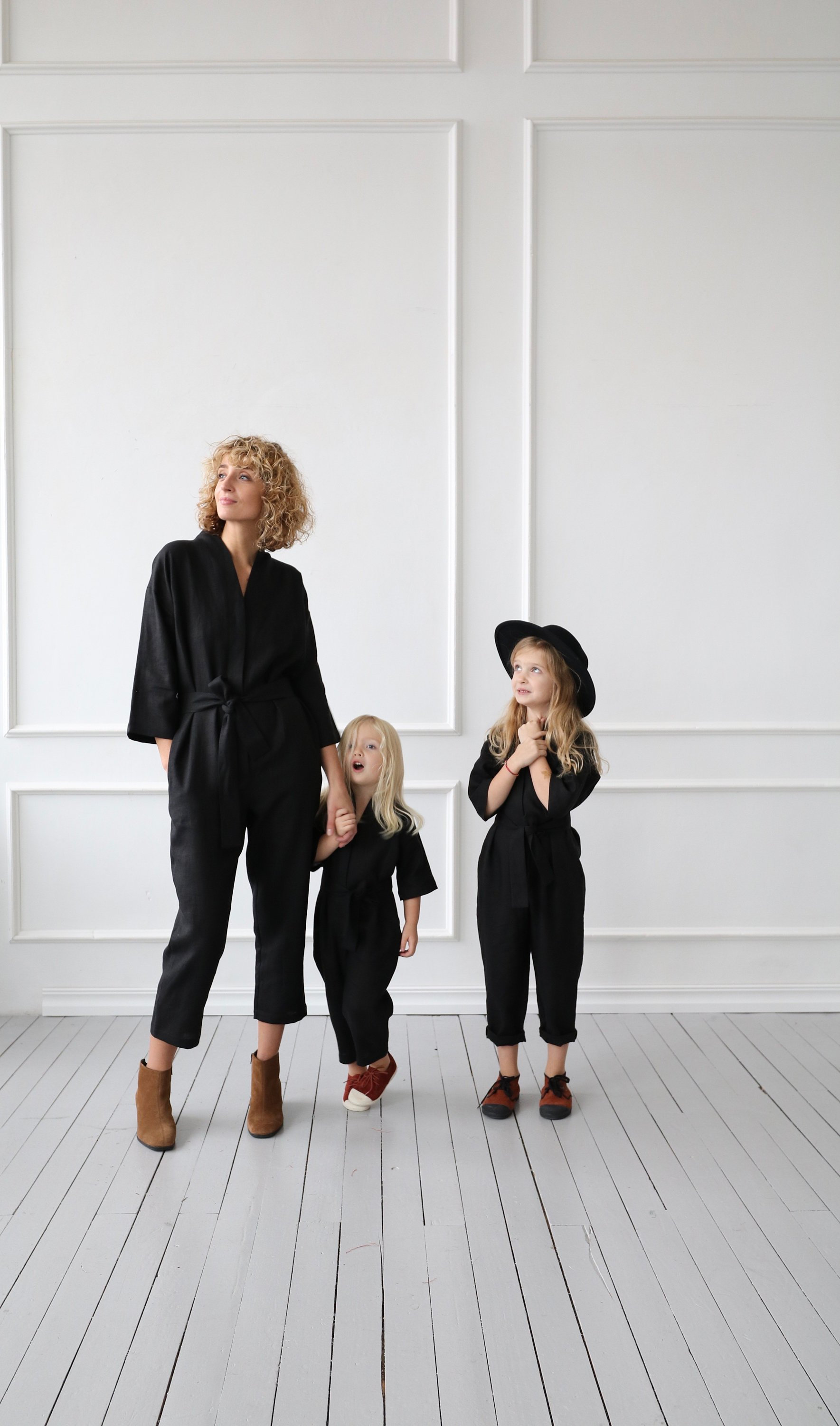 black linen jumpsuit mini me