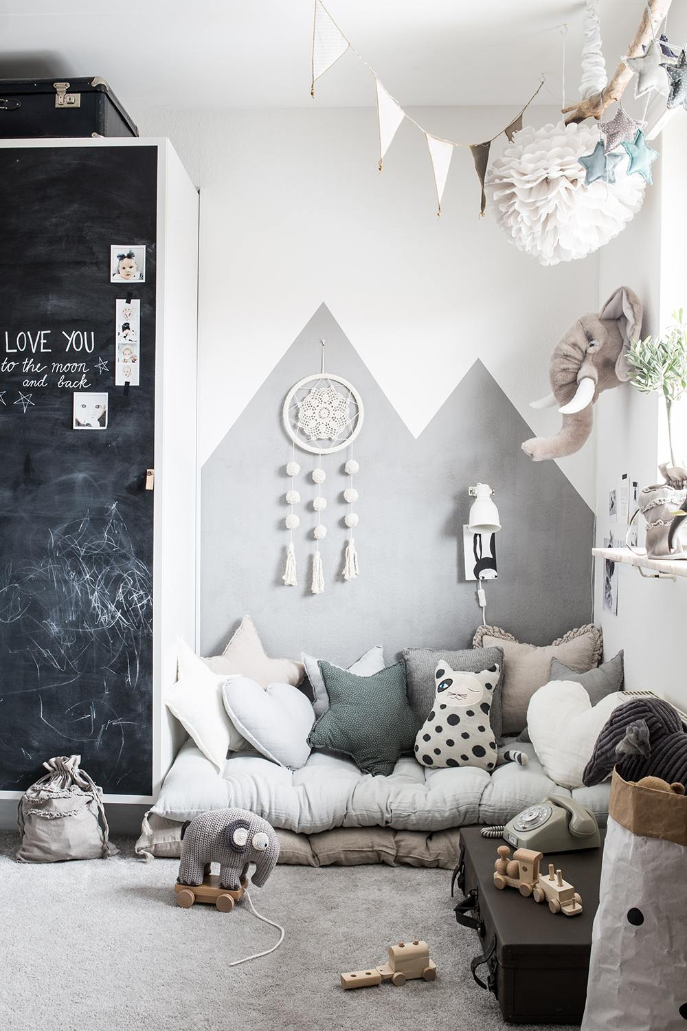 Gray children's room with lots of details