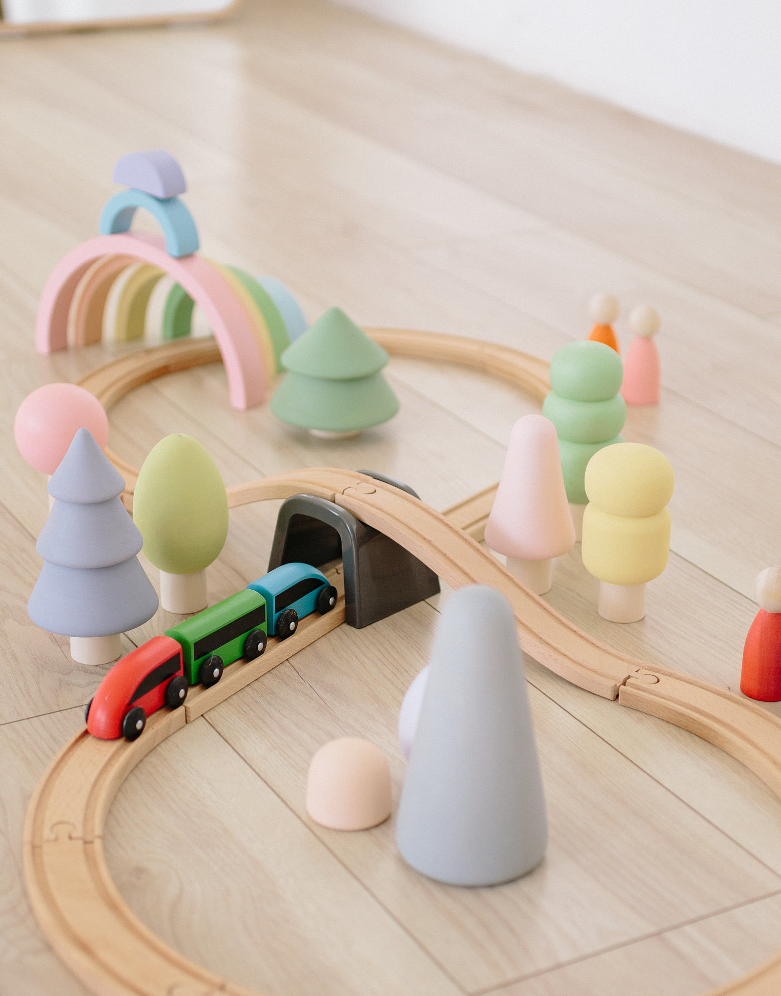 pastel wooden toys rainbow forest