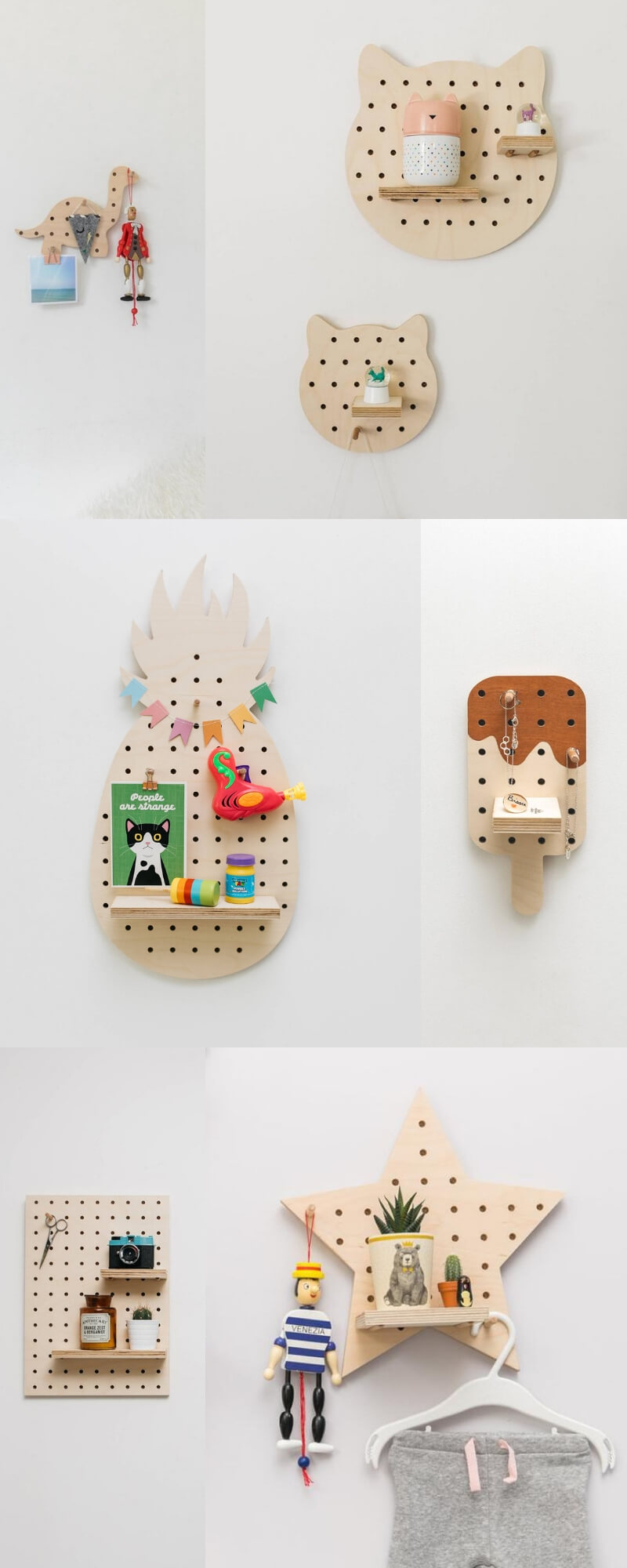 wood pegboards for children's rooms