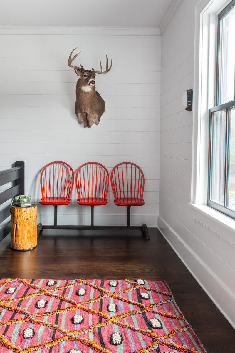 A modern farmhouse with pops of colour and cool patterns
