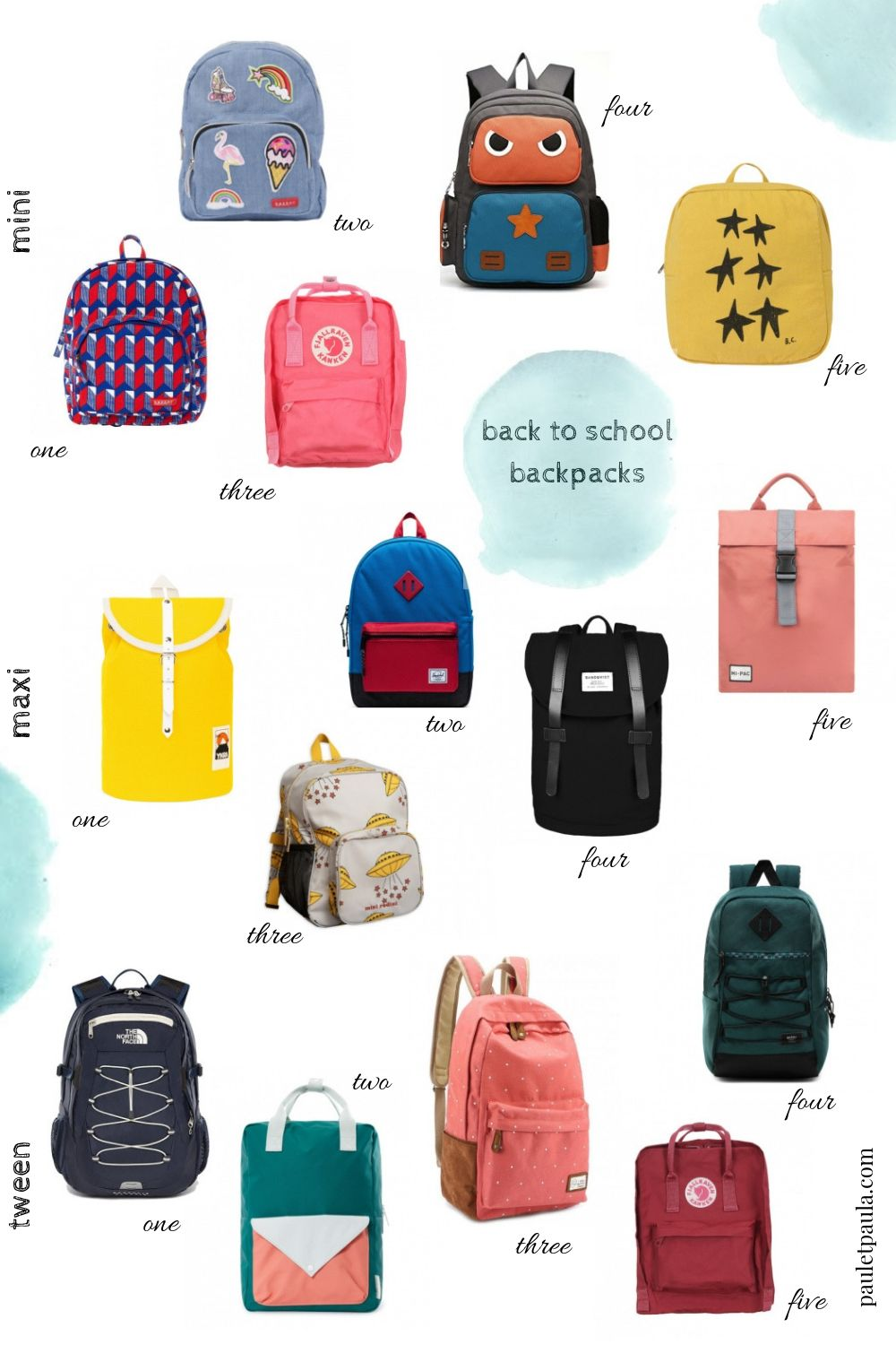 Back to School 2019 - backpacks from nursery to high school