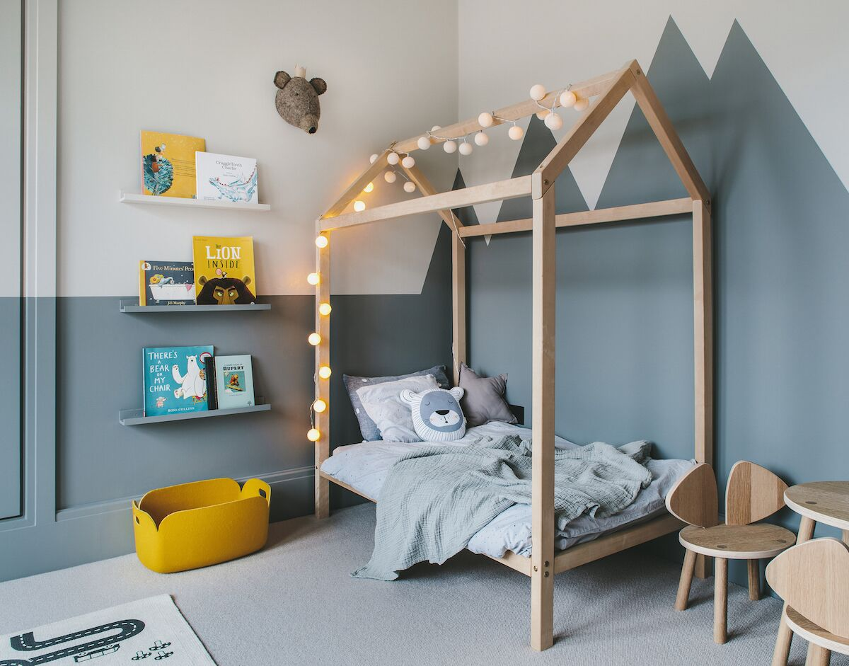 enchanting boy's room in grey and yellow