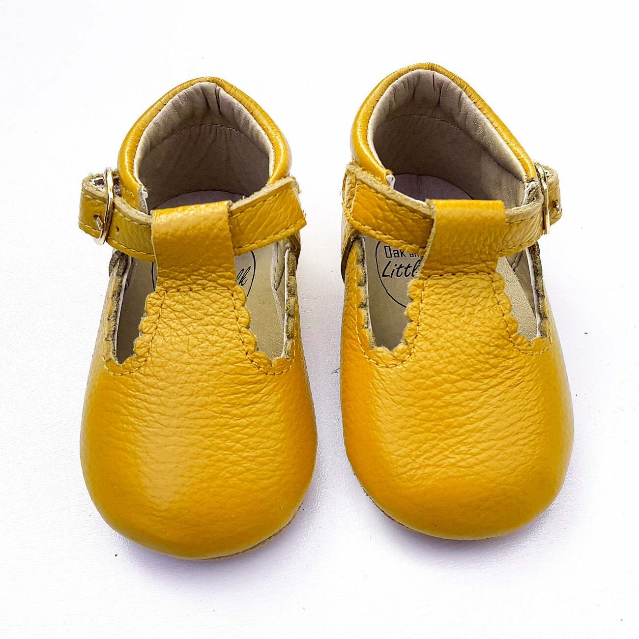 mustard baby shoes leather