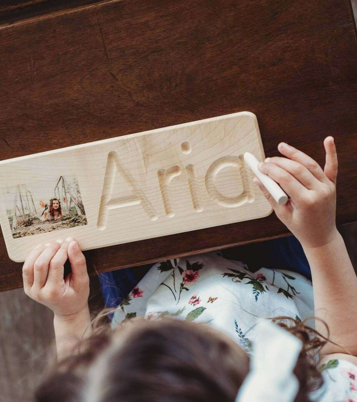 Personalized wooden name tracing board with photo