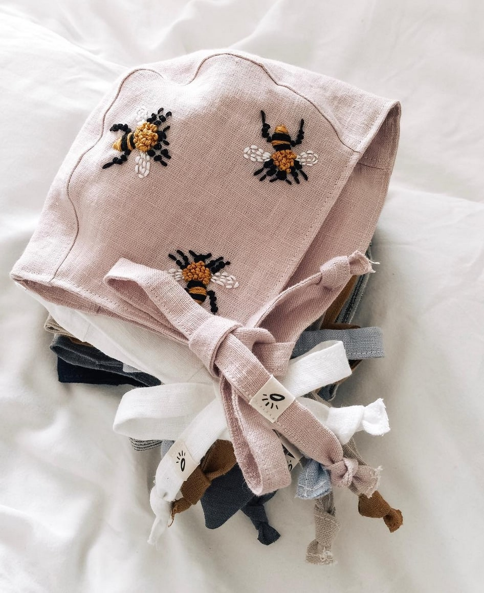 hand made baby bonnets embroidered