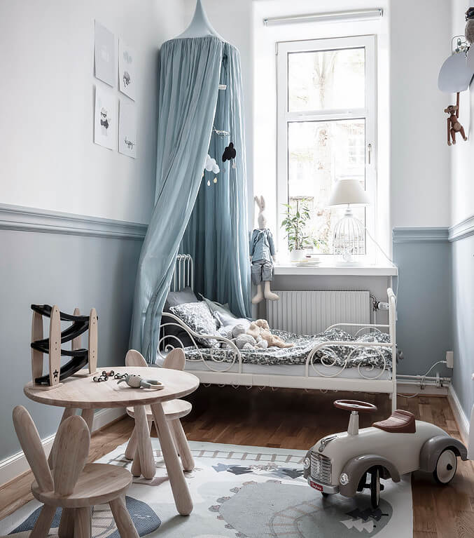 Delightful grey blue children's room