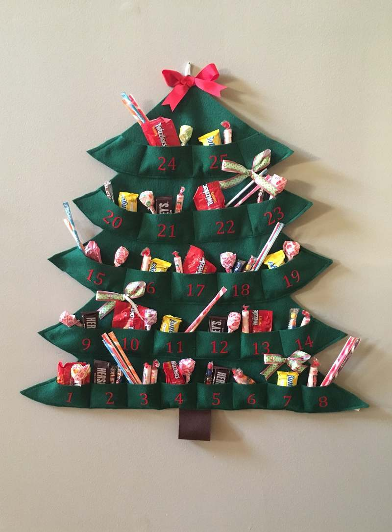 christmas tree shaped advent calendar