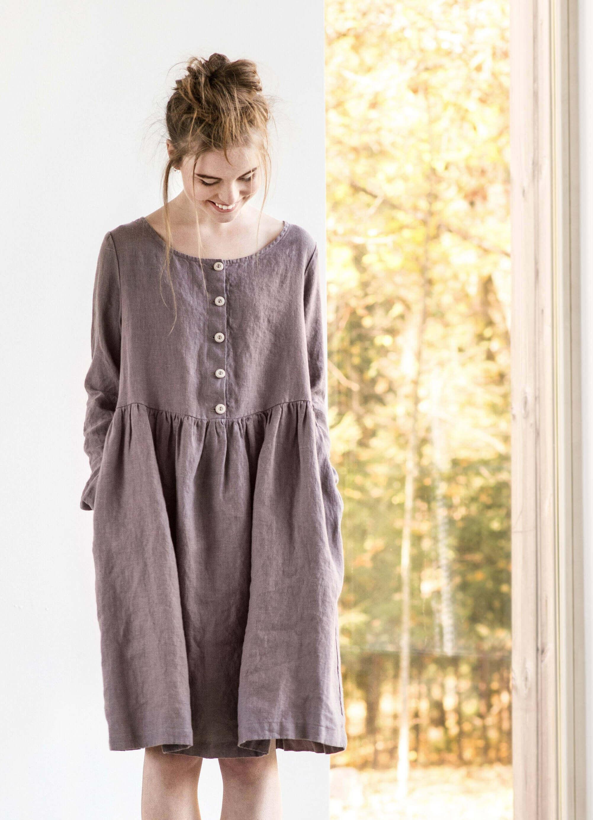 linen maternity dress