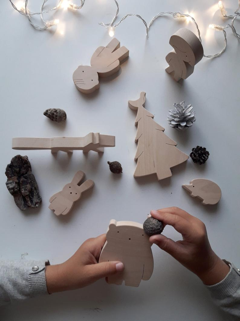 Natural handmade wooden toys