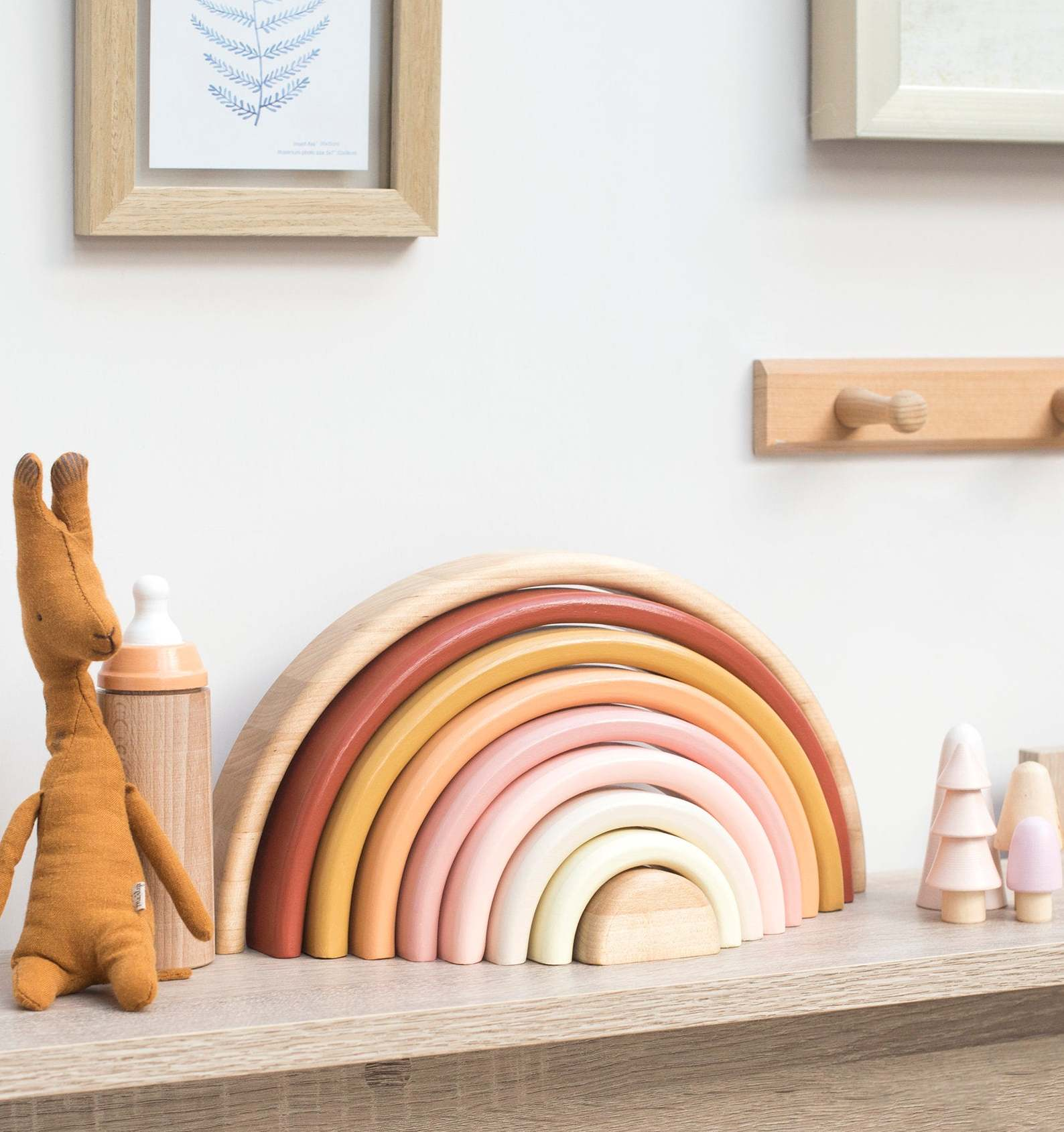 wooden rainbow pastel toy