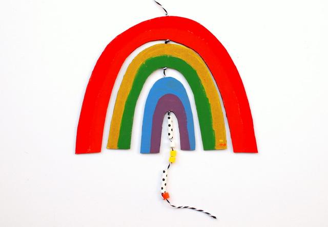 cardboard rainbow mobile