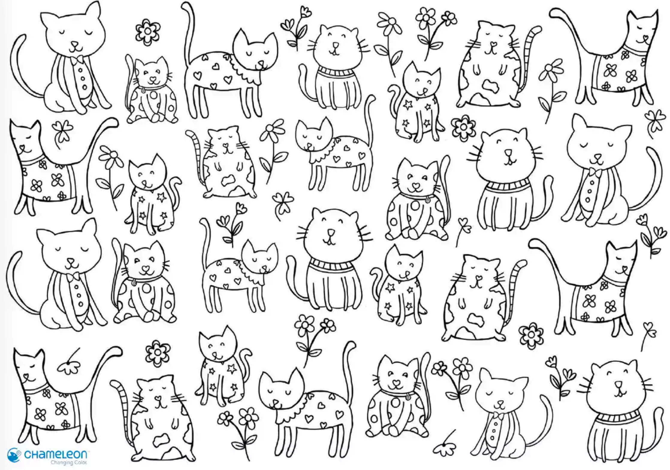 cats colouring page