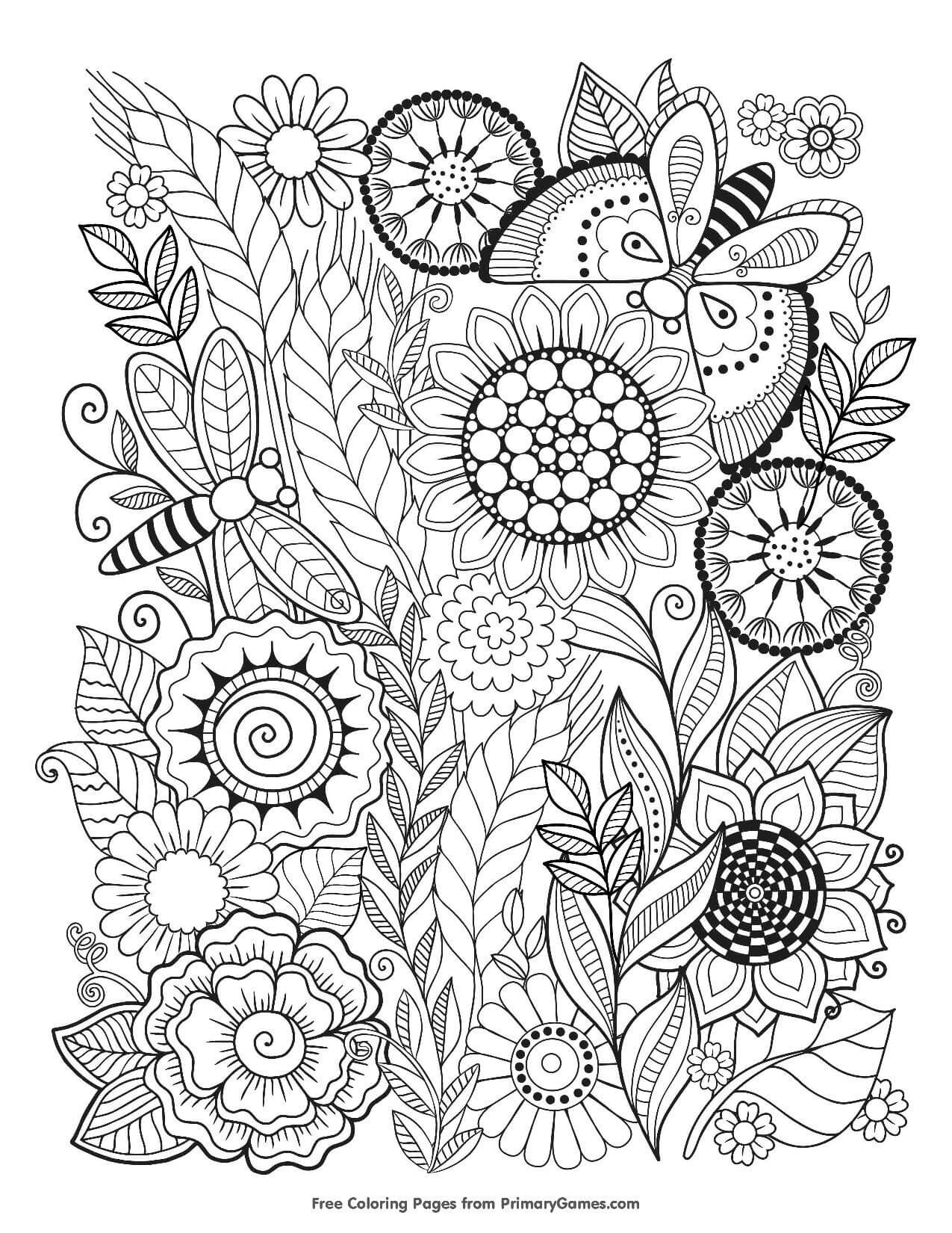 summer-flowers-colouring page