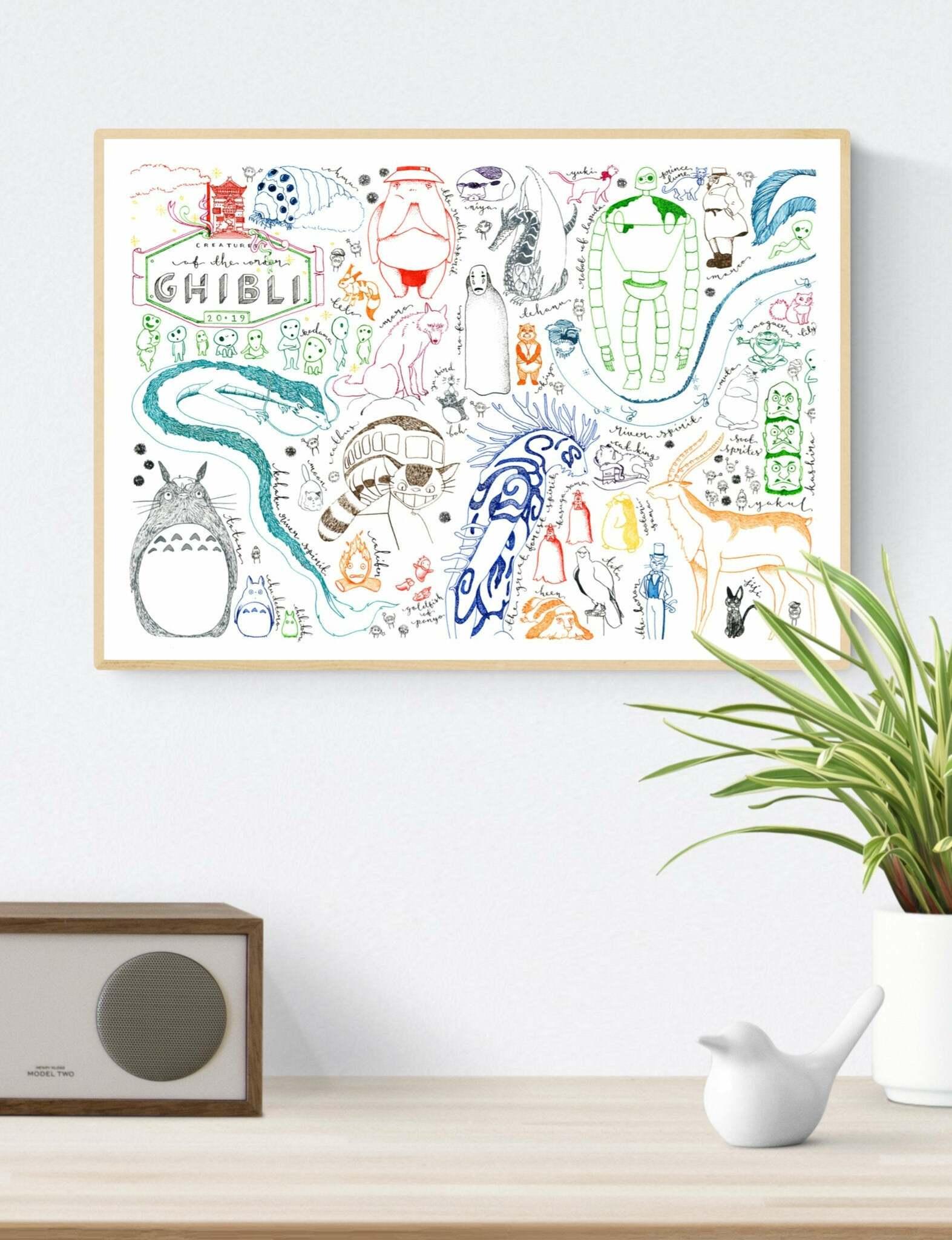 studio ghibli illustration print
