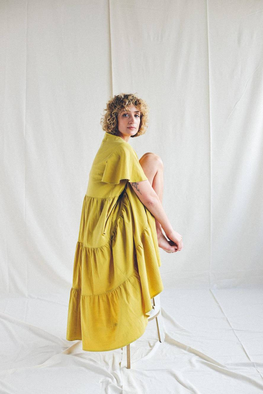 yellow maxi dress cotton
