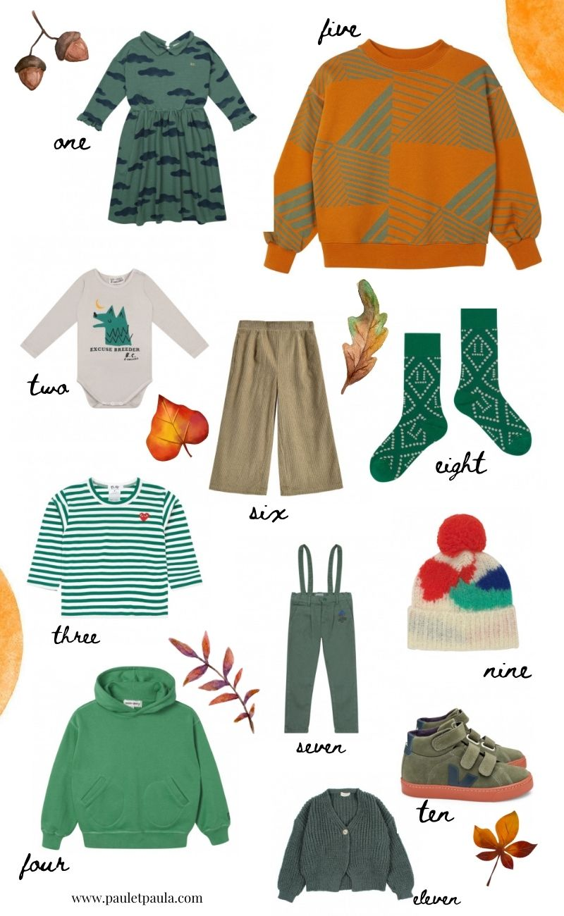 green autumn kids fashion