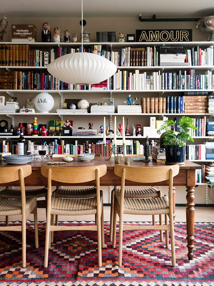 book filled living room