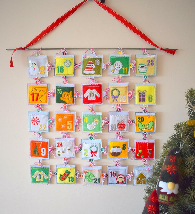 embroidered advent calendar