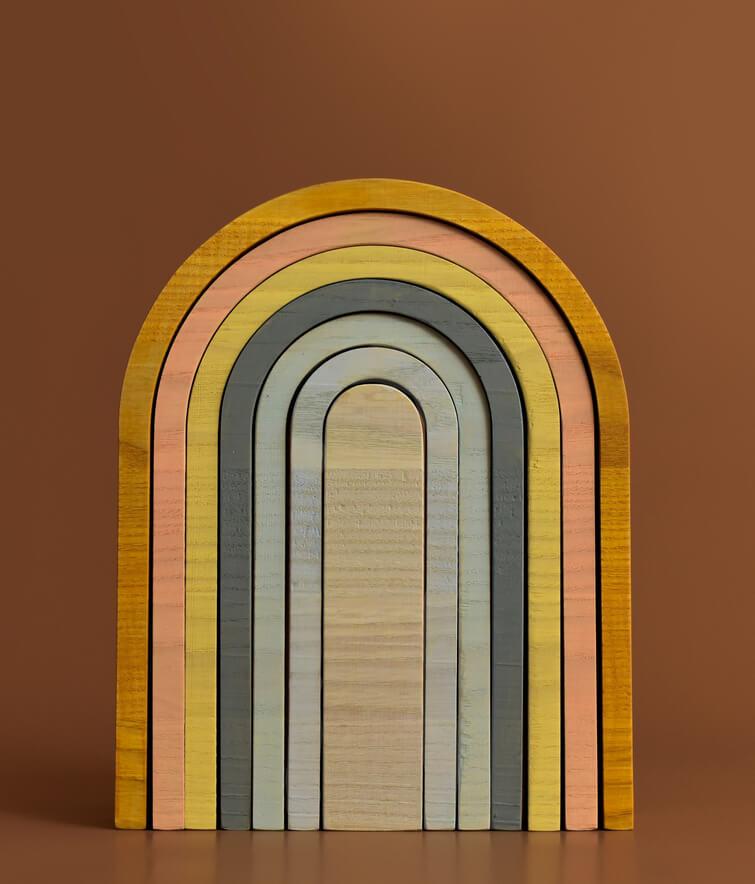 wooden rainbow toy