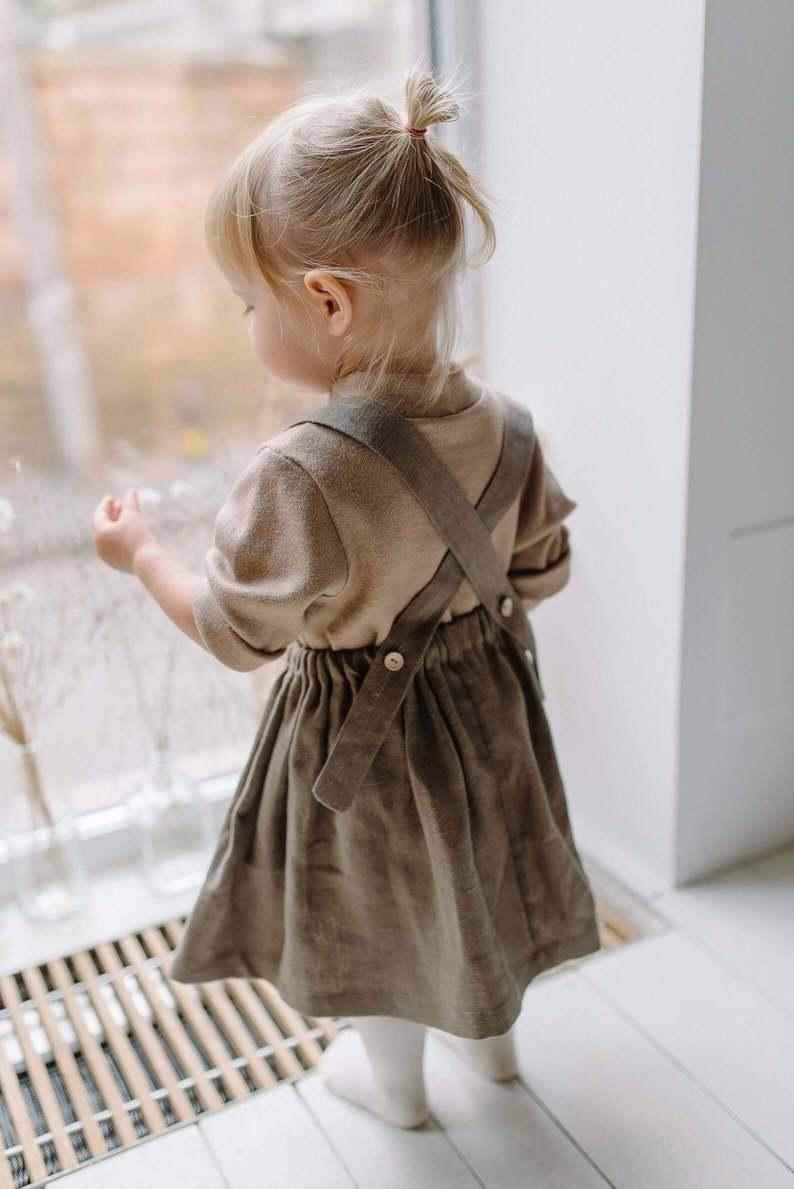linen suspender skirt girl